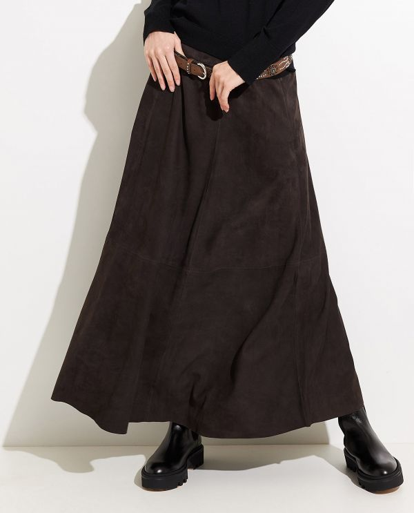 Suede A-line skirt