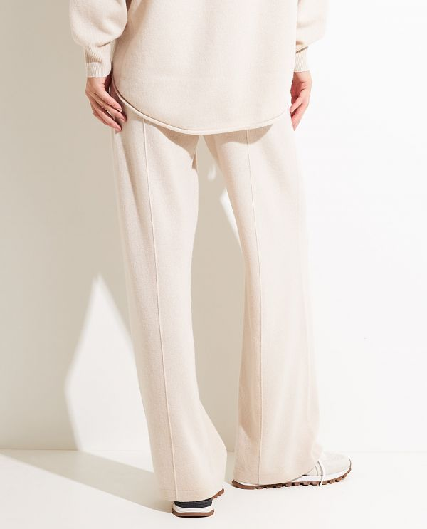 Wide leg trousers in wool-cashmere