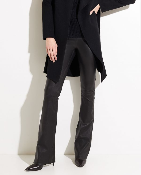 Flared trousers in stretch leather