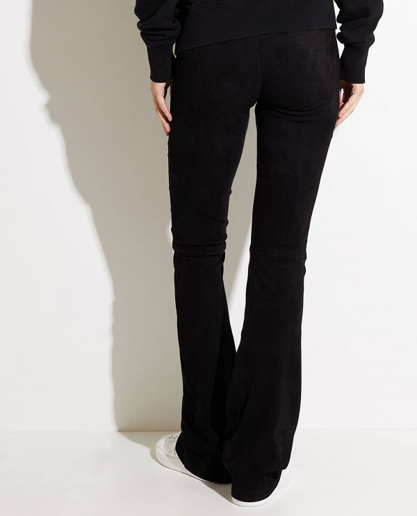Flared pants in stretch suede