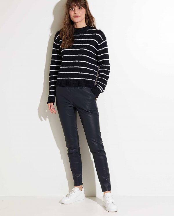 Leather tapered leg trousers