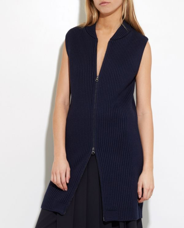 Wool-cotton gilet with zip