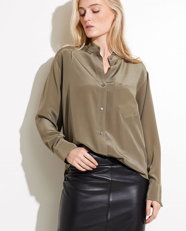 Silk shirt with pocket