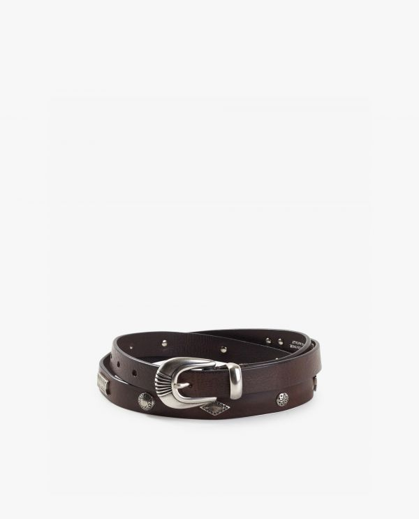 Small leather belt with silver details
