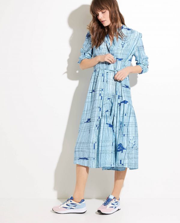 Midi silk dress with long sleeves