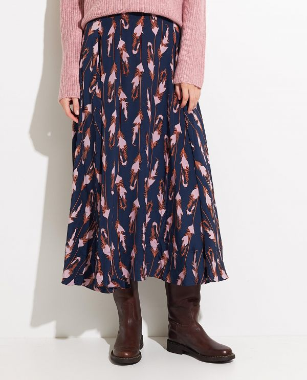 Midi skirt in silk