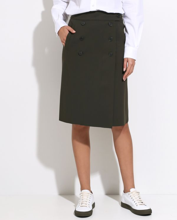 Stretch wrapskirt with buttons