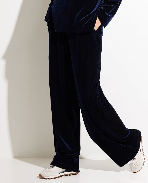 Stretch-velvet wide leg trousers