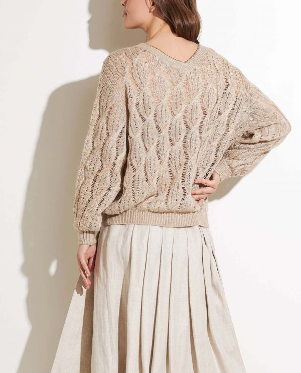V-neck cable sweater with sparkle