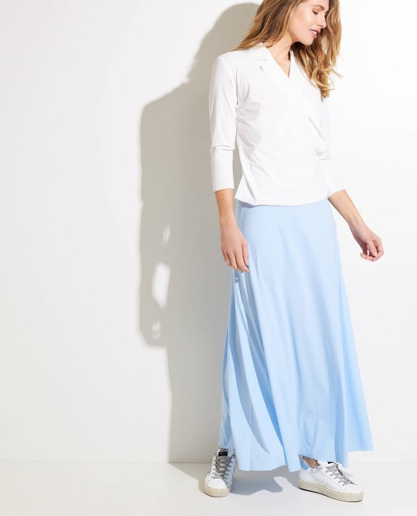 Draped shirt with stretch