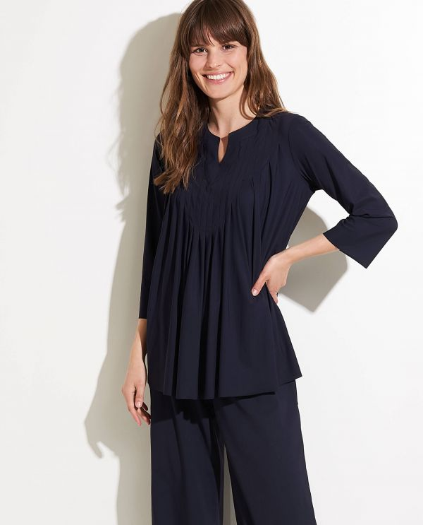 Pleated tunic blouse