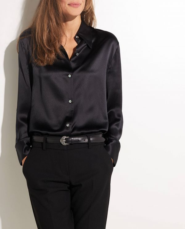Silk shirt with shaped collar