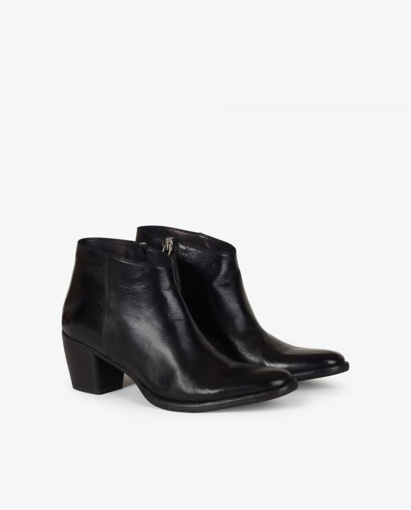 Leather heeled ankle boots