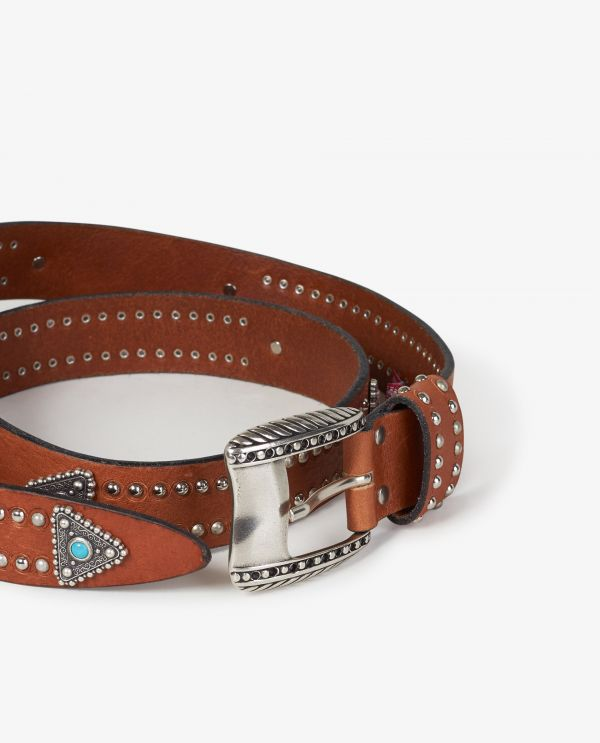 Wide leather belt with studs