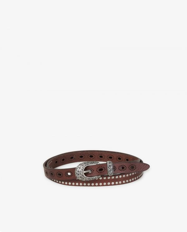Small leather belt with studs