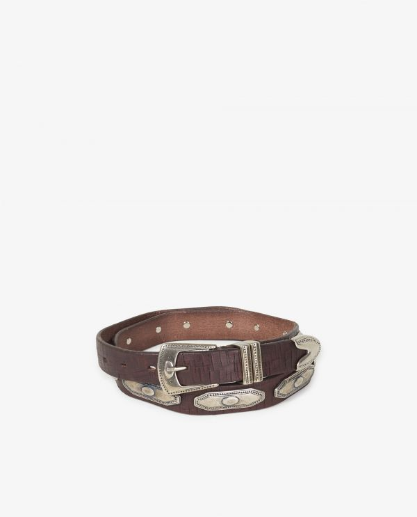 Leather belt with silver accents