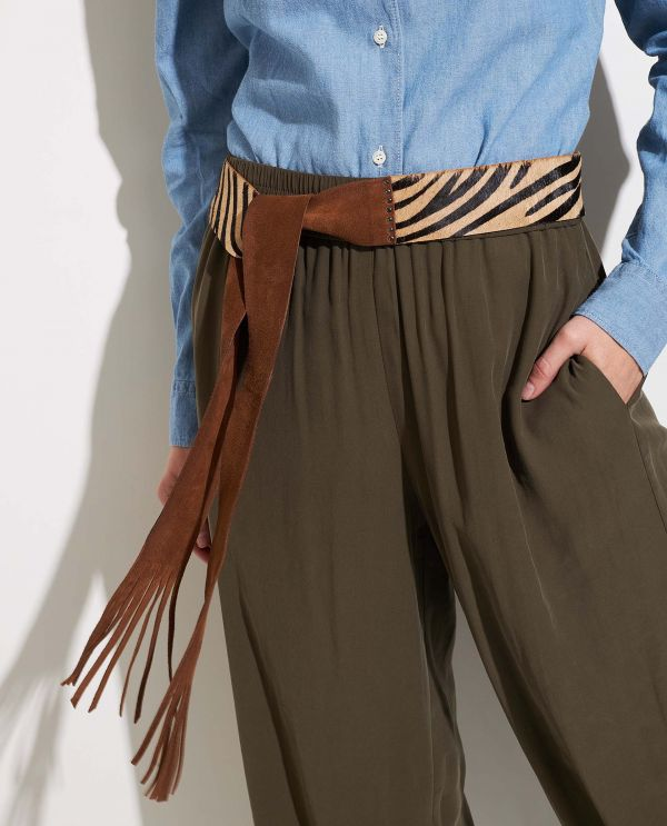 Leather wrap belt with pony hair