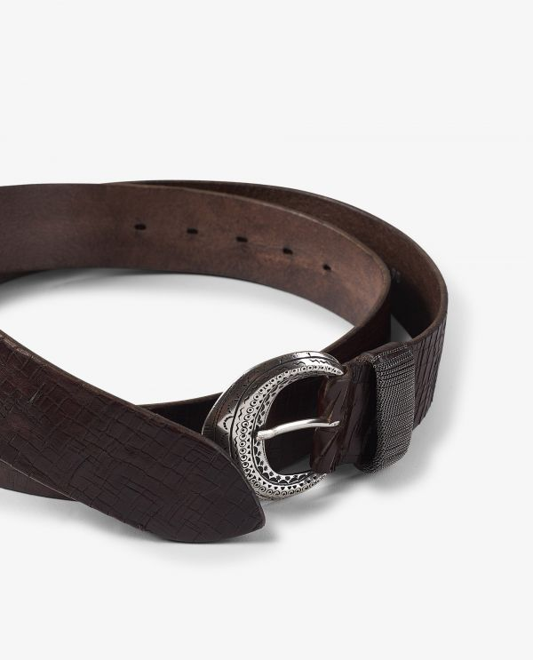 Wide leather belt with buckle