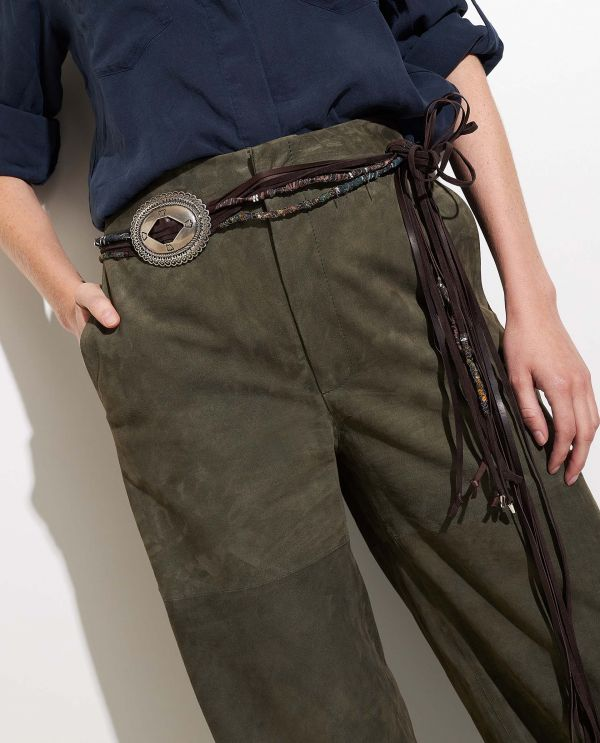 Leather string belt
